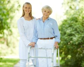 Assisting elder in walking